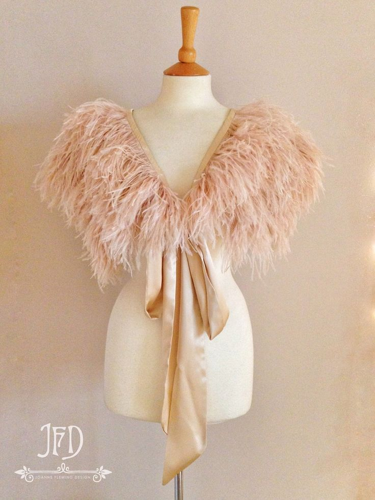 Image of Joanne Fleming Design 'Mitsou' ostrich feather and silk satin luxury bridal or evening capelet. Also available in other colours. Click through to order