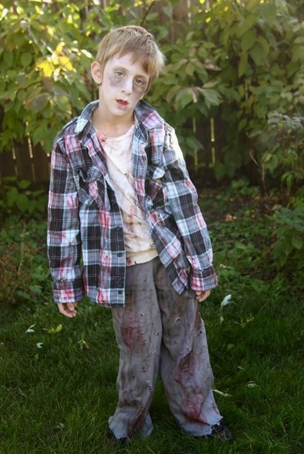 DIY Kid's Zombie Costume | 18 DIY Zombie Costume Ideas - Halloween Party Ideas by DIY Ready at http://diyready.com/18-diy-zombie-costume-ideas/