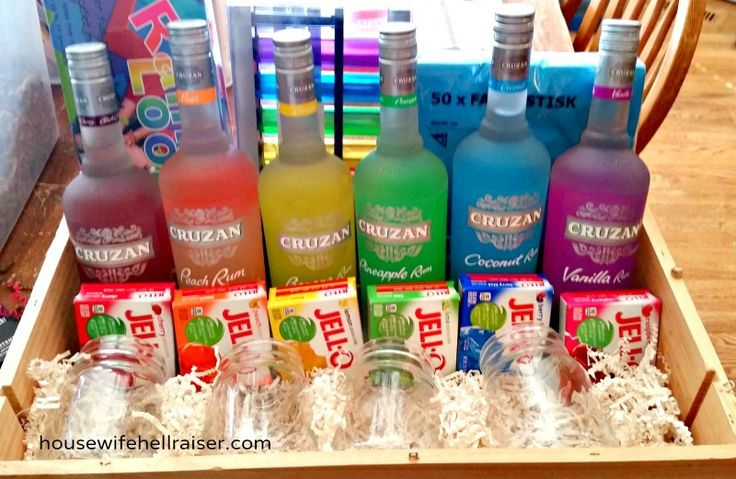 Jello Shots Fundraiser Auction Basket - A rainbow of liquor bottles with matching Jello flavors, along with rainbow colored shot glasses. So rad!