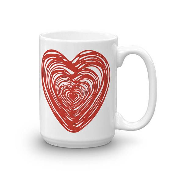 BIG RED HEART Doodle Love Theme Bright Flashy Design Ceramic Coffee Mug