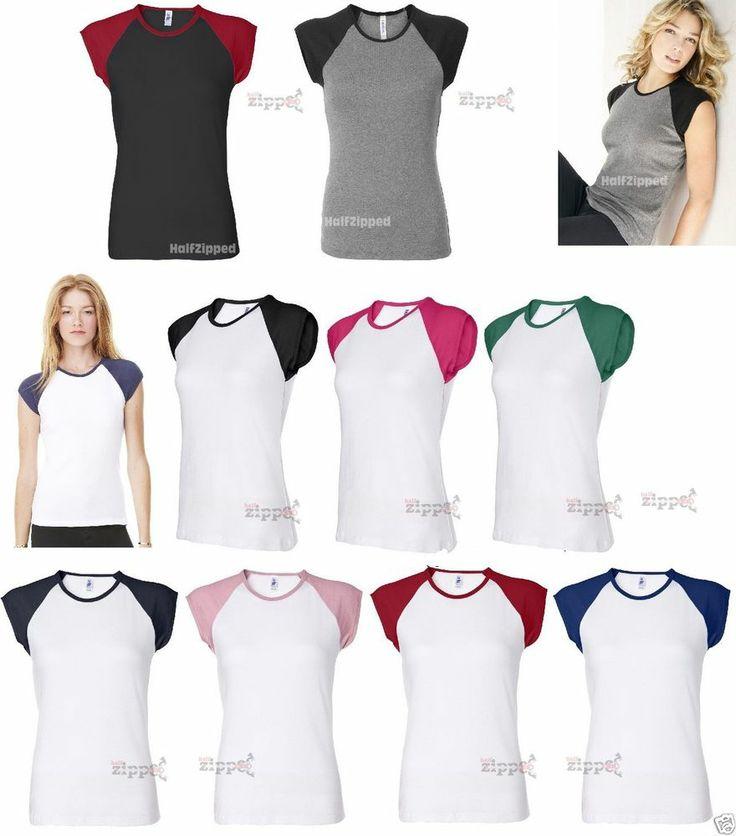 Bella Ladies Baseball Cap Sleeve T-Shirt 2020 S-2XL NEW