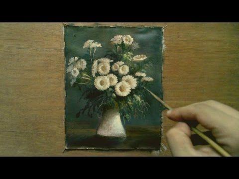 Oil Painting White Flowers With Yasser Fayad ياسر فياض - YouTube