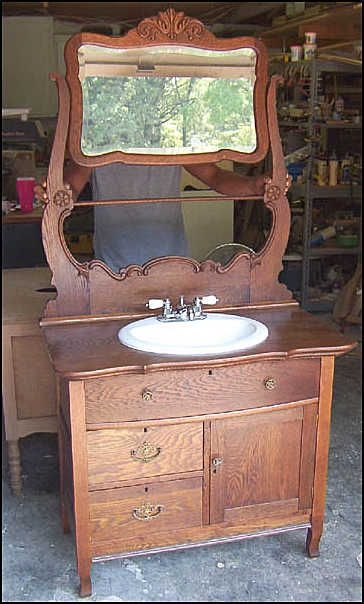 Photo of Front View - Antique Bathroom Vanity: Antique Washstand with Mirror for Vantiy