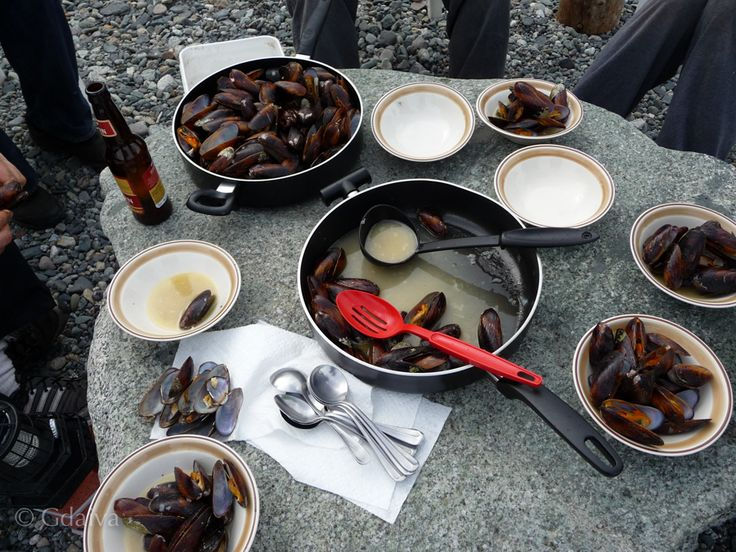 Alaskan wild mussels cooked in wine-butter sauce and served on the rock on the beach