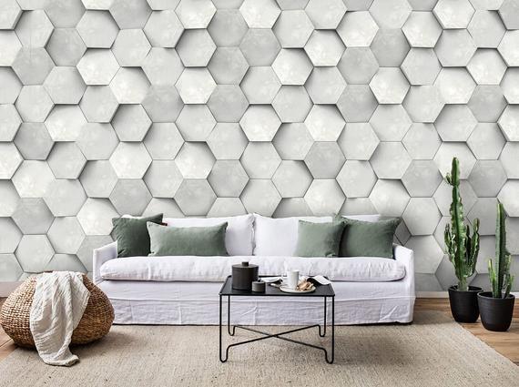 3d Grey Dislocation Hexagon Geometric Wallpaper Mural Peel And Stick Wallpaper Removable Wall Prints Stickers Feature Wall Wallpaper B525 Feature Wall Wallpaper Geometric Wallpaper Geometric Wallpaper Murals