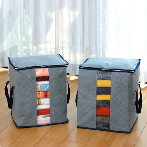 Bamboo Charcoal Clothes Storage Box Holder Bags Gray