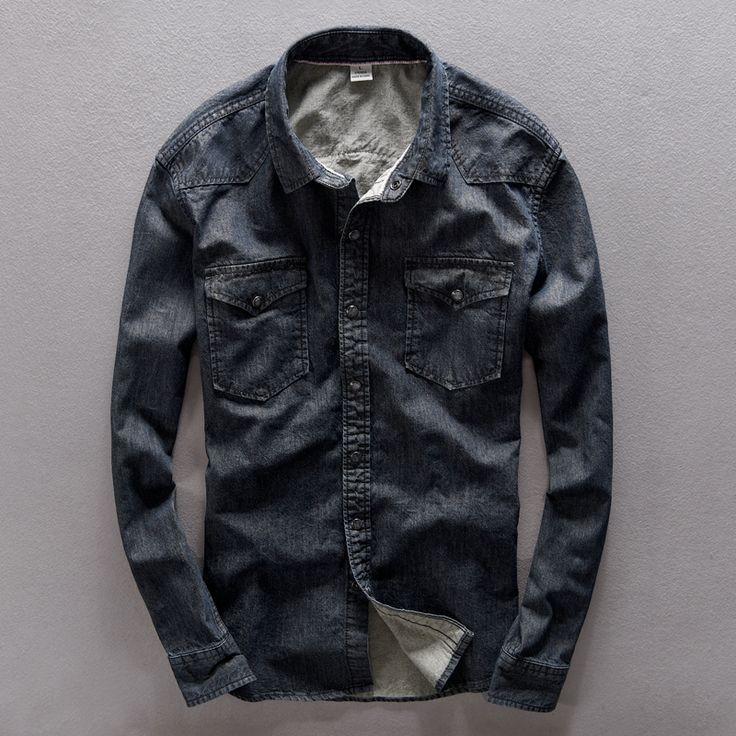 Autumn Cowboy shirt men cotton denim shirts men slim fit long shirt mens chemise homme camisa social masculina hemd voor mannen