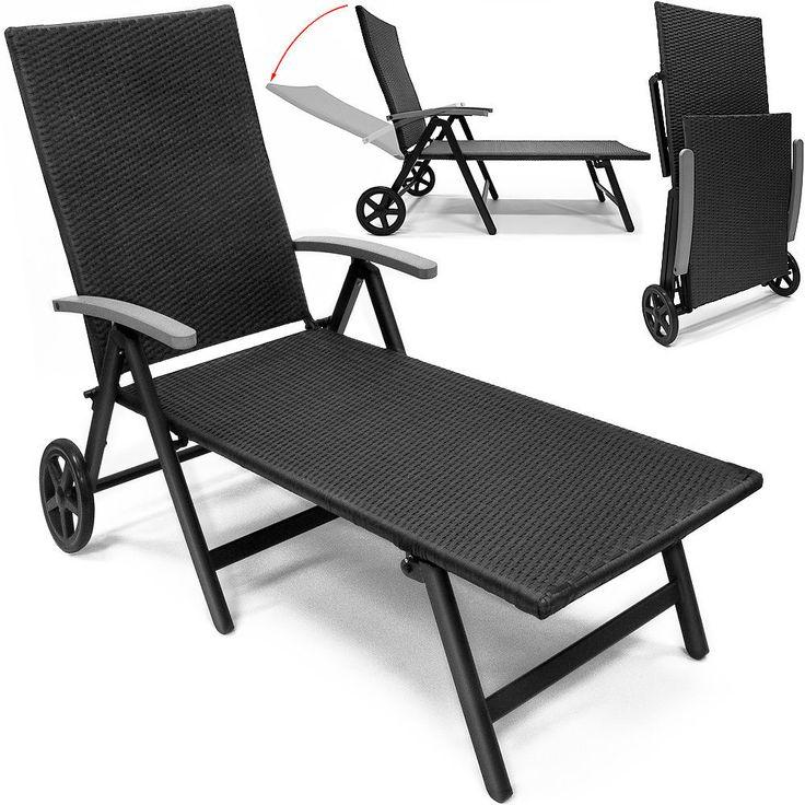 Aluminium Rattan Sun Lounger Garden Deck Chair Wheeled Patio Terrace Recliner