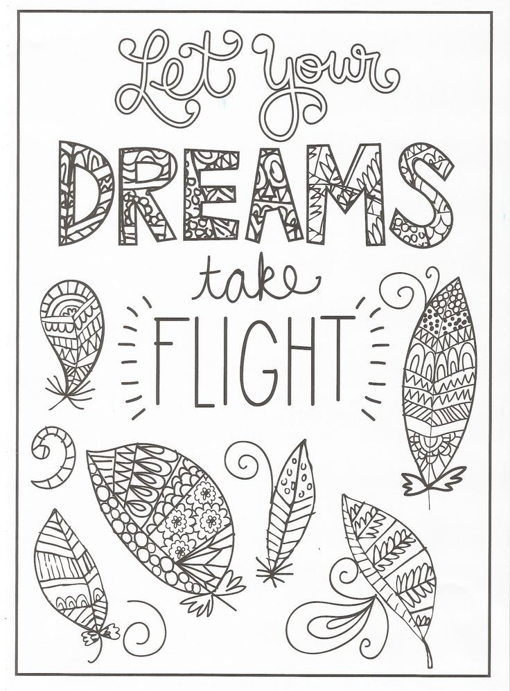 timeless creations creative quotes coloring page let your dreams take flight - Quotes Coloring Pages
