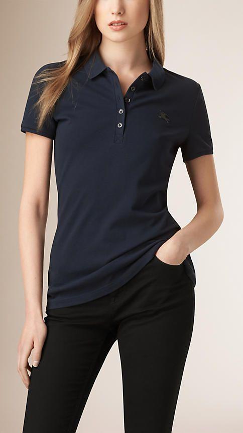 Navy Cotton Piqué Polo Shirt - Image 1