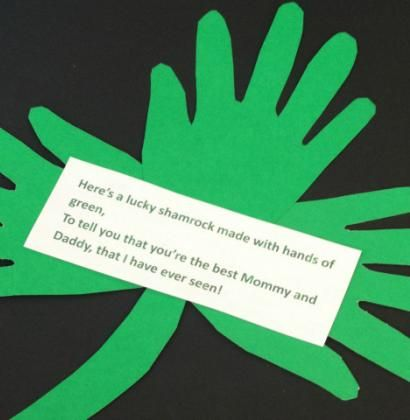 Handprint Shamrock and Poem for St. Patrick's Day   momstown National