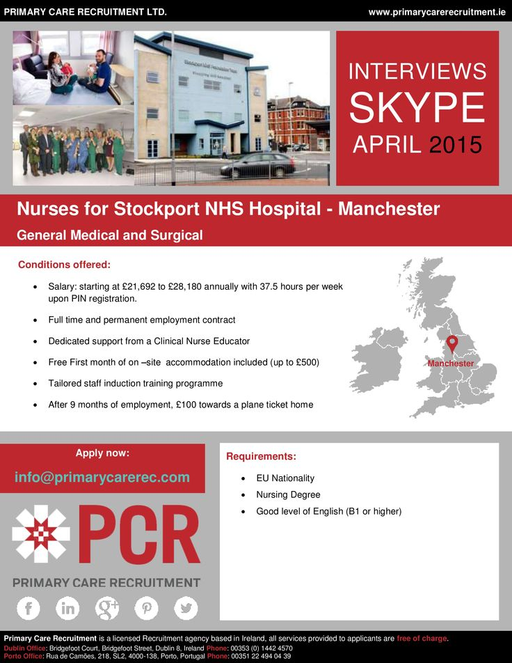 Stockport NHS Trust still needs General Medical and Surgical Nurses – Manchester SKYPE Interviews take place this month! Send your CV to info@primarycarerec.com