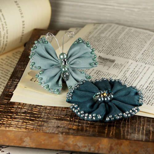 Elegance  Teal and Navy blue Fabric Flower and by Hennytj on Etsy, $5.89