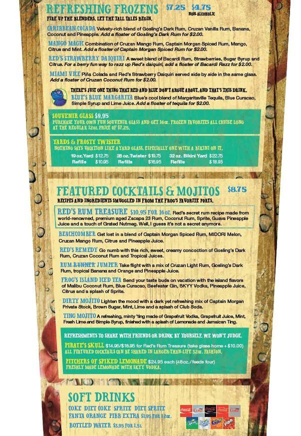 Red Frog Rum Bar Menu – Carnival's Fun Ship 2.0 | Cruising | Malibu rum drinks, Rum, Bar menu