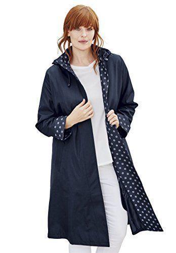 Jessica London Women s Plus Size Long Hooded Raincoat Navy White Hexagon 1ae607f87