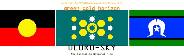 New Australian Flag design proposition with ATSI flags - UluruSky Flag - GreenGold Horizon 9dotEurSC5-BlueGreen