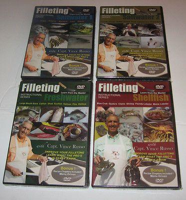 4 Fishing FILLETING FILETING DVDs Vince Russo Saltwater 1&2 Fresh Shellfish Salt