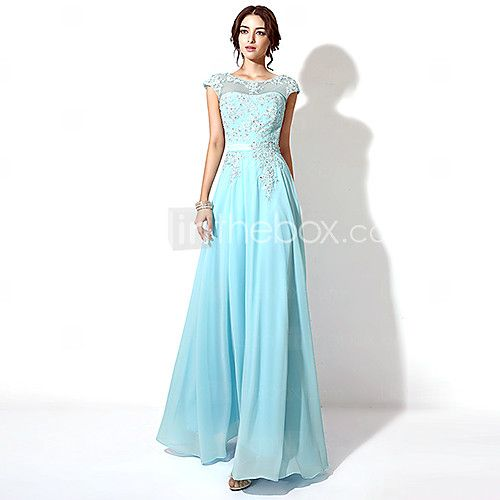 Formal Evening Dress - Grape / Sky Blue / Candy Pink Plus Sizes / Petite A-line Bateau Floor-length - USD $ 89.99