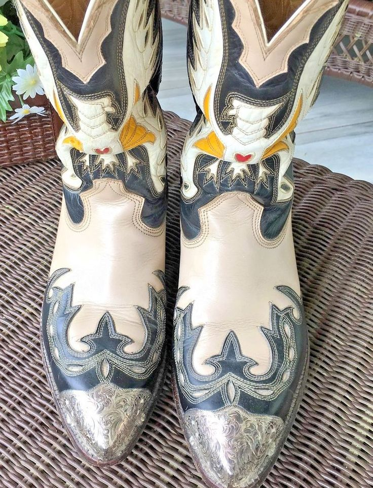 Vintage Don Quijote Mexican Boots Thunder Bird Inlay Silver Boot tips Guards 7.5 #DonQuijote