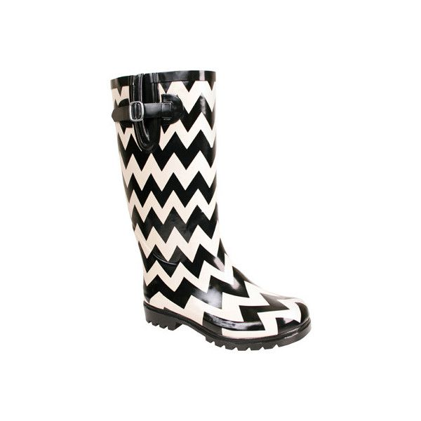 Women's Nomad Puddles Boot - Black/White Chevron Casual ($53) ❤ liked on Polyvore featuring shoes, boots, rain boots, casual, casual shoes, black and white rain boots, utility boots, white and black shoes, wellington boots and water resistant shoes
