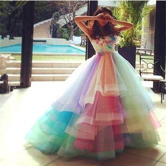 Fairytale Princess Inspired Multicoloured Mesh Prom Dress