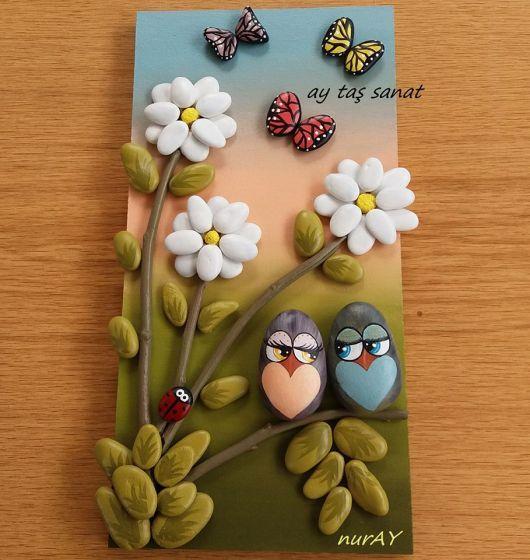Taş boyama baykuşlu pano yapımı ;)