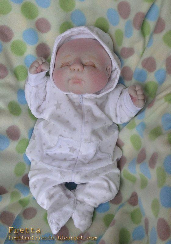 OOAK Soft Sculptured Newborn Baby Doll 47 by FrettasLovableDolls, $96.00