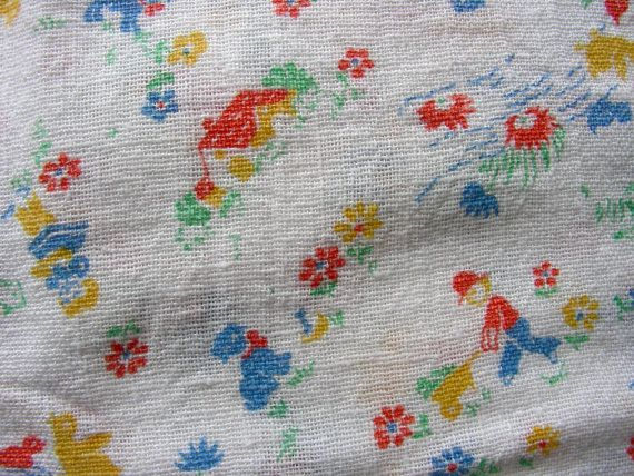 Vintage Feed Sack Novelty Fabric   ADORABLE Tiny by anne8865, $75.00