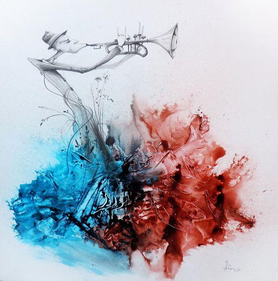 Tableau Peinture Acrylique Encre Rouge Et Bleue Dessin Au