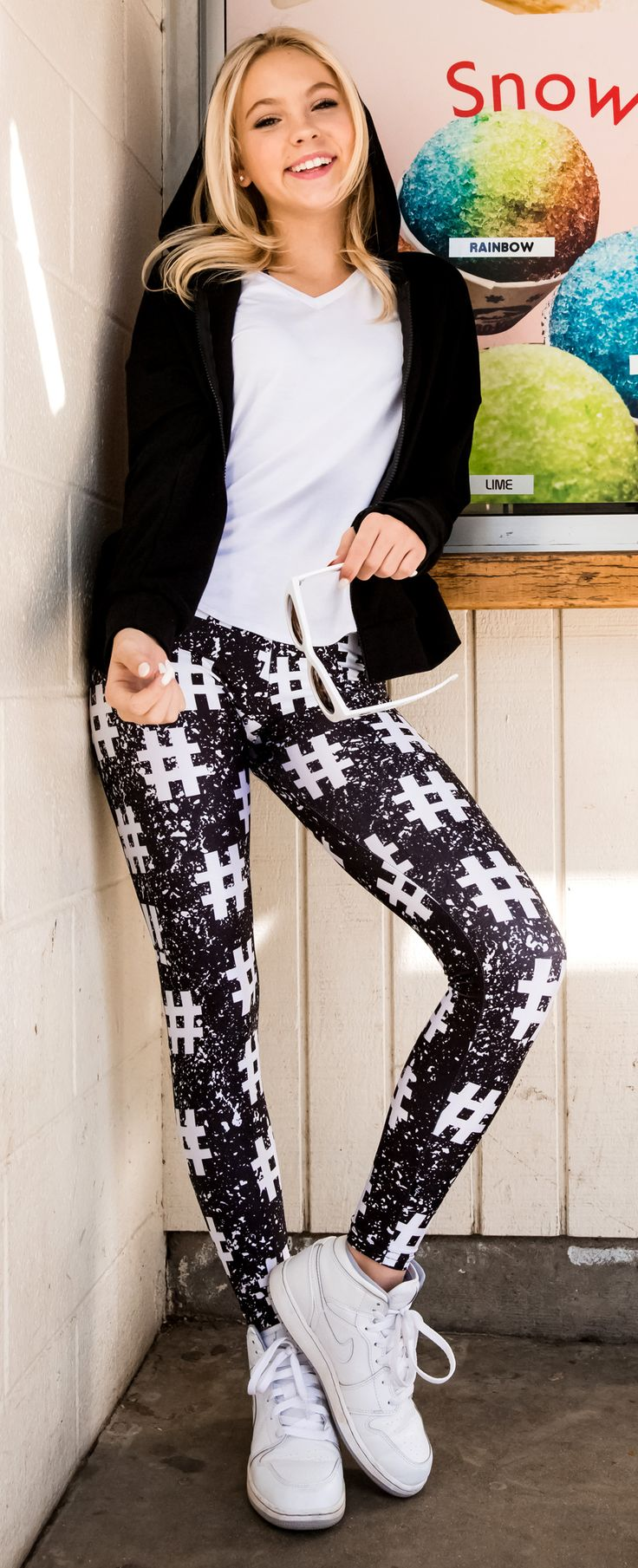 Girls Hashtag Leggings | You'll be the trendiest girl in town in these super comfy hashtag leggings.