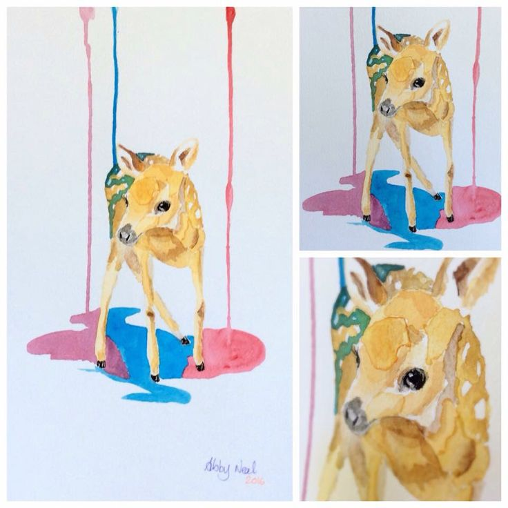 Watercolour Fawn by Abby Neal Art. #deer #colourful