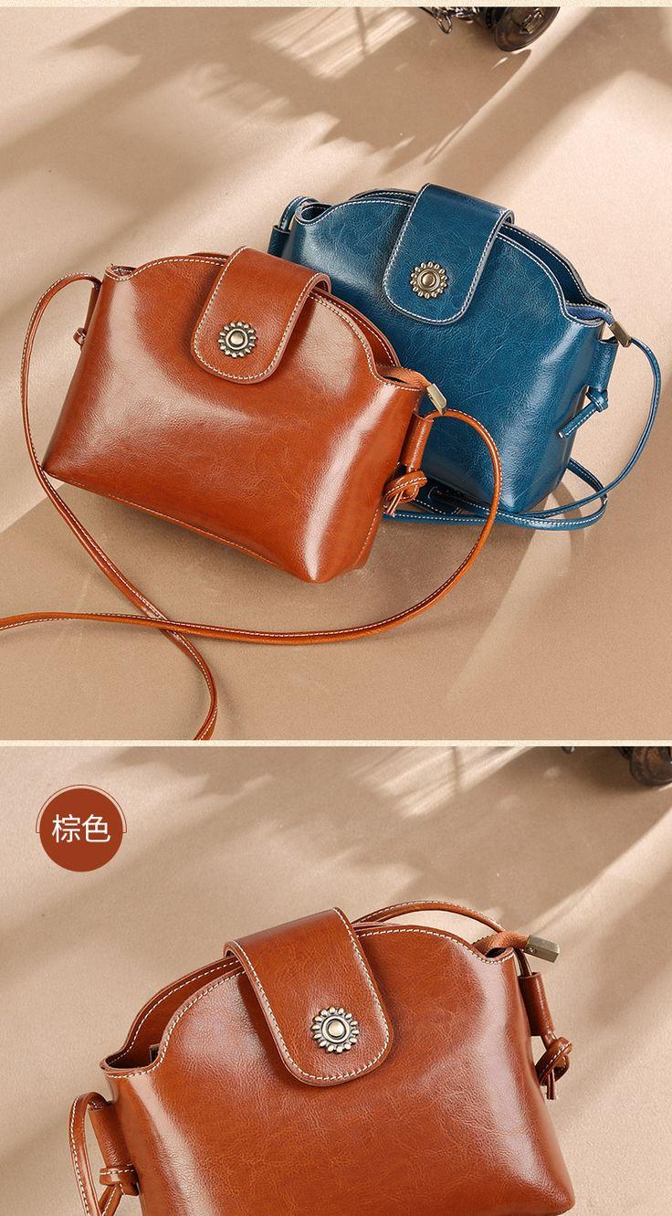 Vintage Oil Wax Cowhide Woman Crossbody Trend Genuine Leather Bucket Bag Flap Hasp Mini Shoulder Bag Gifts