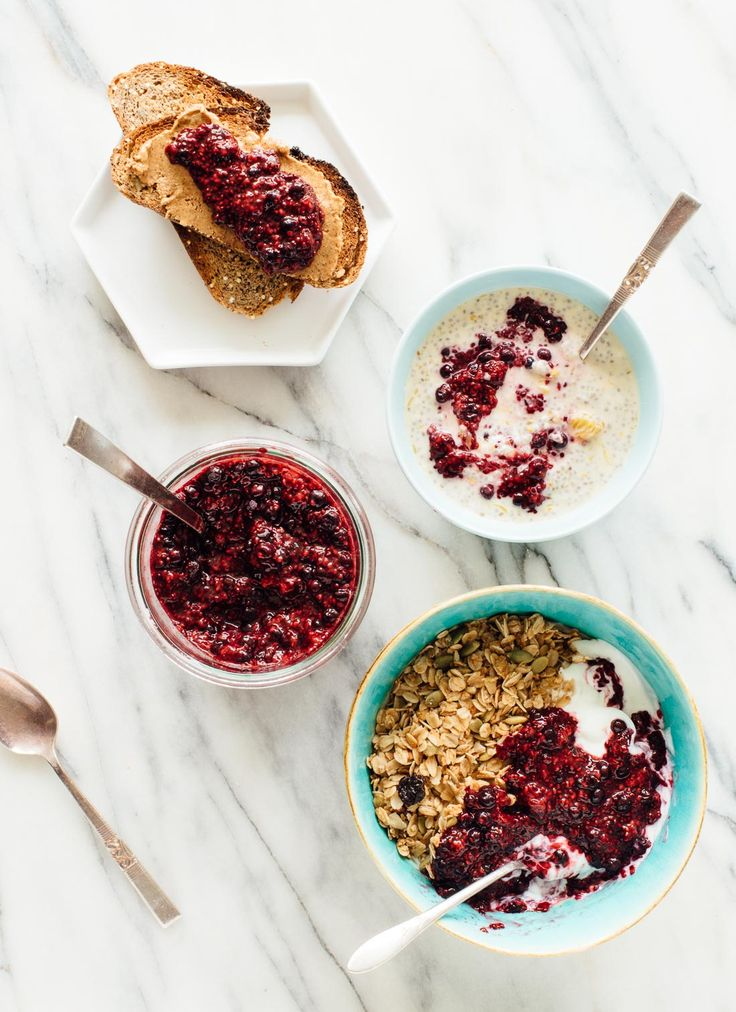This simple chia seed jam recipe is made with defrosted blueberries and raspberries (no cooking required)! Eat more nutritious berries with this easy jam.