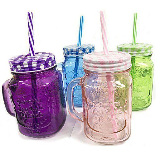 6 X Jam Jar Glasses Mason Handle Lid Straw Juice Drink Glass Drinking 500ml Set