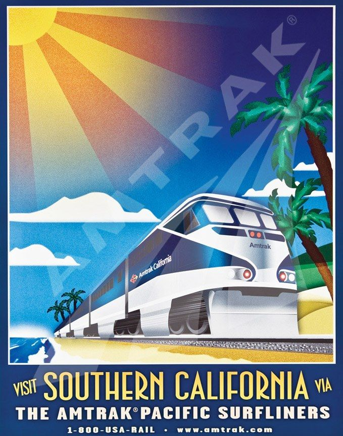 c.2000 Visit Southern #California -- #Amtrak. #poster #ephemera #trains