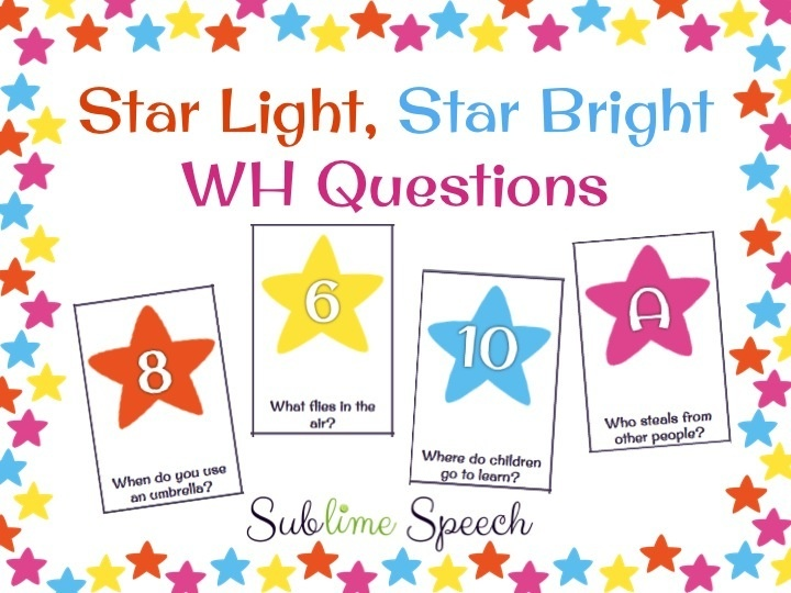 Star Light, Star Bright WH Questions - Repinned by @PediaStaff