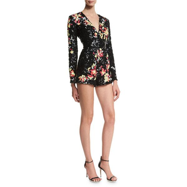 Zuhair Murad Embellished Long-Sleeve Short Jumpsuit ($8,090) ❤ liked on Polyvore featuring jumpsuits, floral, short jumpsuits, jumpsuits & rompers, embellished jumpsuit, long sleeve jump suit and floral print jumpsuit