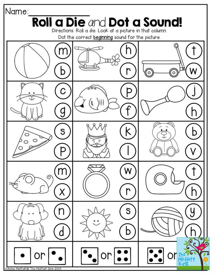 Roll a die and Dot (or color) a BEGINNING sound