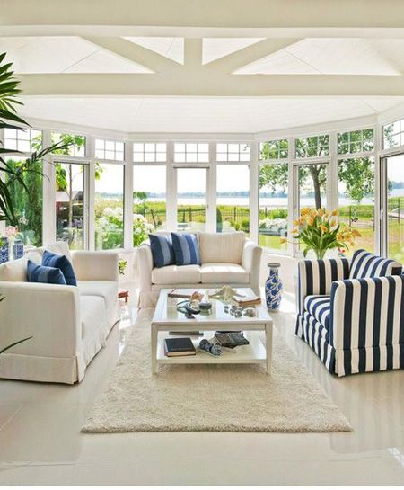 Decorate a sunroom to tie in with the decor in your home for a