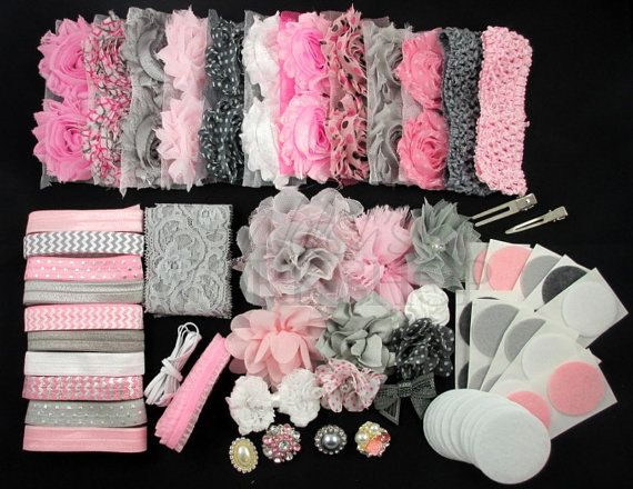 Pink & Gray Headband Kit - DIY Shabby Flower Headbands - 28 Headbands 2 Clips - Baby Shower - Headband Station - Craft Show