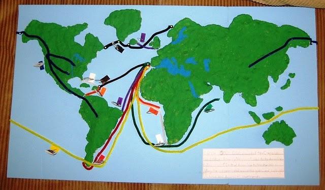 World salt dough map to track the explorers