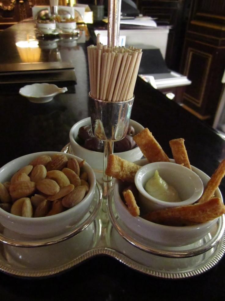 bar snacks at Hotel LeMeurice Paris