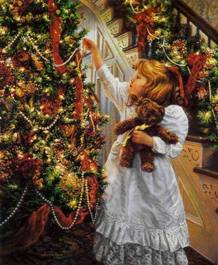 Дети наряжают елку открытка, зимние пейзажи