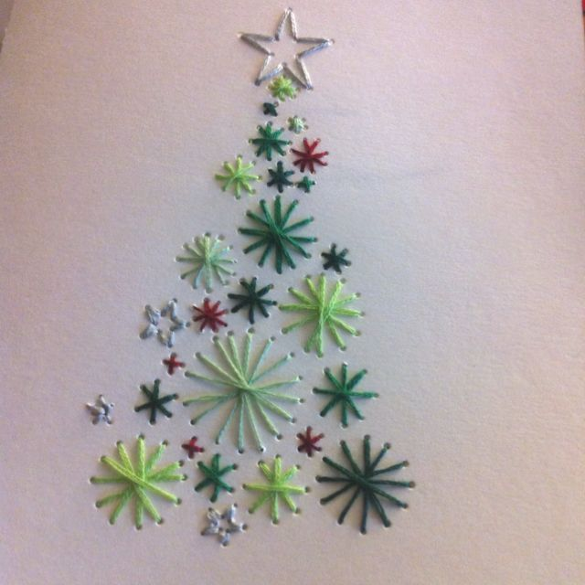 stitched christmas cards - Google Search