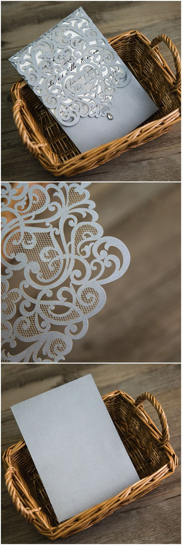 elegant silver gray laser cut wedding invitations