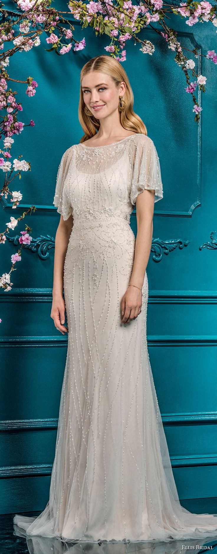 ellis bridals 2018 short sleeves illusion bateau scoop neck full beaded embellishment elegant vintage art deco sheath modified a  line wedding dress open v back sweep train (10) mv -- Ellis Bridals 2018 Wedding Dresses