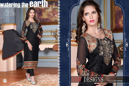 Ethnic Party Wear  Georgette Brasso Semi-Stitched straight cut Black Salwar suit with heavy thread embroidery. Comes with Santoon Inner And Bottom and Chiffon dupatta.