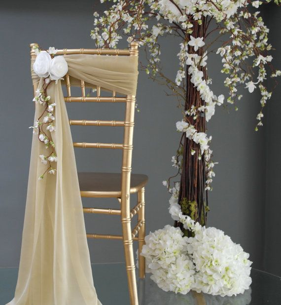 New Wedding Chair Back Sash and White Flower Accent - Handmade Fabric Flowers - Chair Sash - Sweatheart table