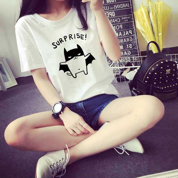 Delle Donne di modo di Estate T-Shirt Bella Bat Stampato Manica Corta Abbigliamento Caldo