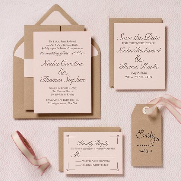 Modern Blush wedding invitation suite - Nadia & Thomas    GORGEOUS!  FAVORITE!  Only with ivory or gold or silver envelopes...